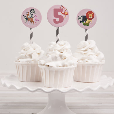 Zoo Animals birthday party cupcake toppers template editable instant download