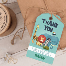 zoo animals birthday party favor tag template editable instant download