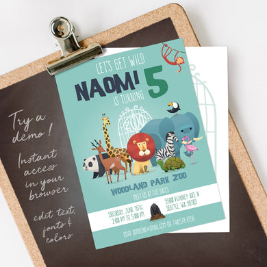 zoo animals birthday party invitation template editable instant download boys