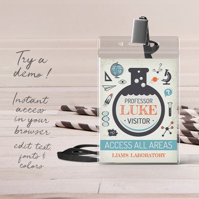 science birthday party ID badge template editable instant download