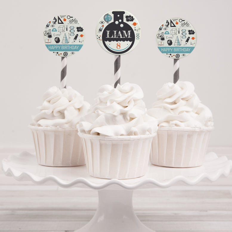 science birthday party cupcake toppers template editable instant download