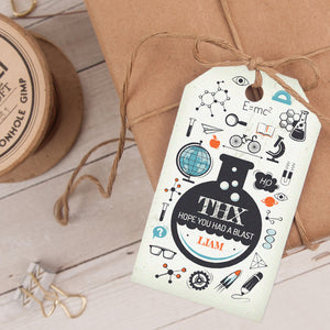 science birthday party favor tag template editable instant download