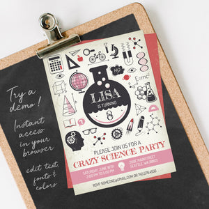 science birthday party invitation template editable instant download girls