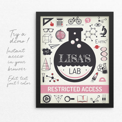 science birthday party lab sign template editable instant download