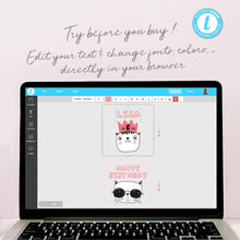 cool cats birthday party cupcake toppers template editable instant download