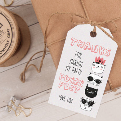 cool cats birthday party favor tag template editable instant download