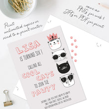 cool cats birthday party invitation template editable instant download girls