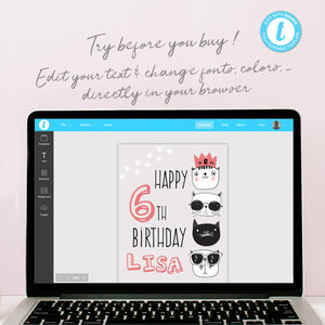 cool cats birthday party table sign template editable instant download