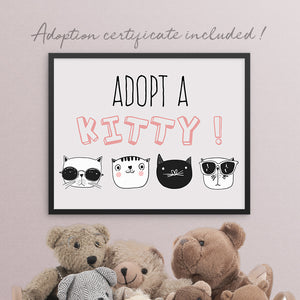 cool cats birthday party adopt a kitty sign template editable instant download