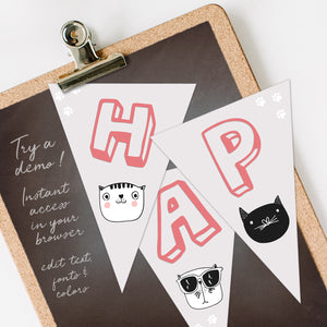 cool cats birthday party bunting flags template editable instant download