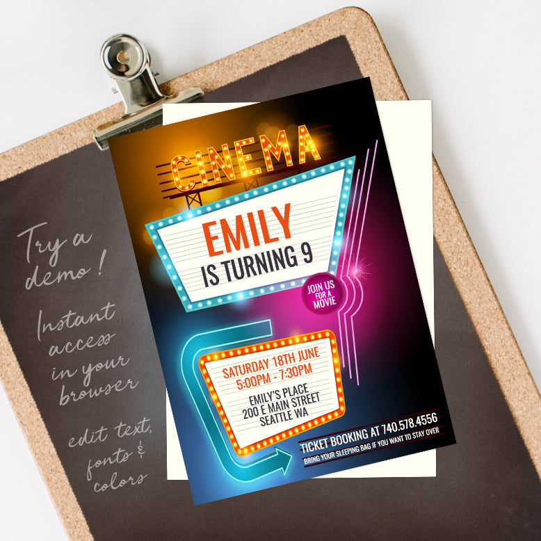 movie birthday party invitation template editable instant download