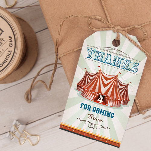 circus party favor tag template editable instant download