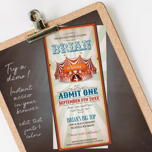 circus birthday party invitation template editable instant download boys