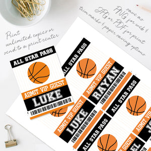 basketball birthday party ID badge template editable instant download