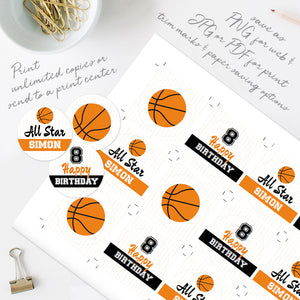 basketball birthday party cupcake toppers template editable instant download