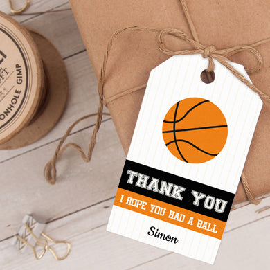 basketball birthday party favor tag template editable instant download