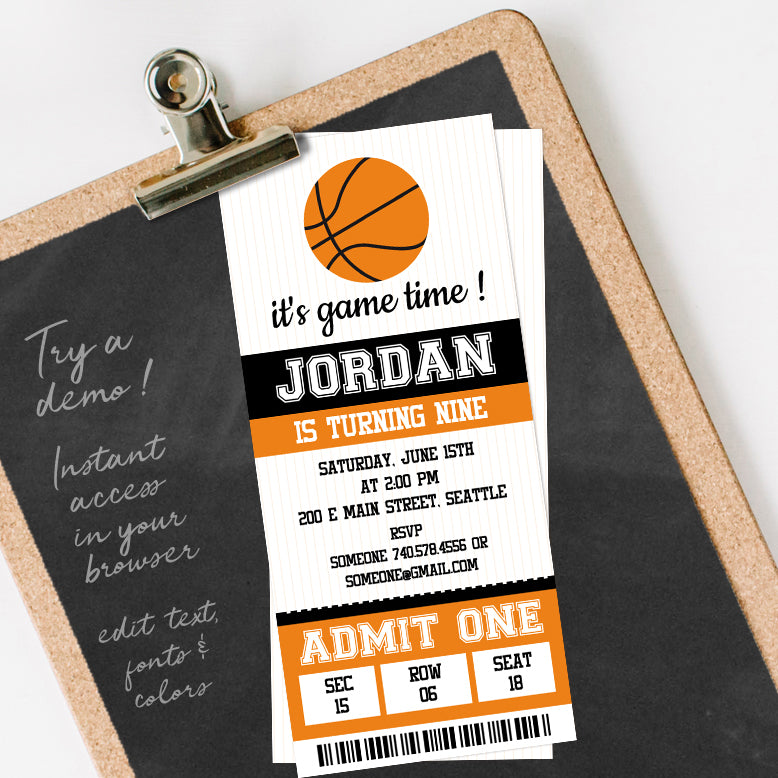 editable basketball birthday party invitation template download