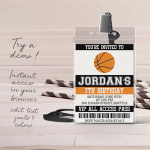basketball VIP pass birthday invitation template editable instant download