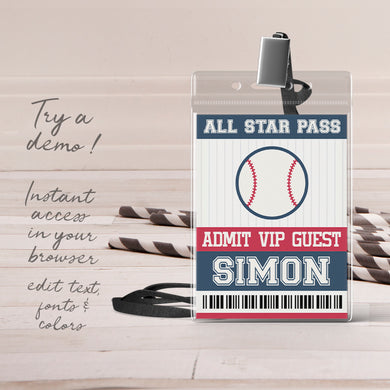 baseball birthday party ID badge template editable instant download