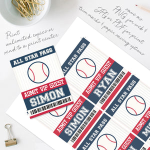 Baseball Party ID Badge