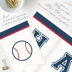 baseball birthday party bunting flags template editable instant download