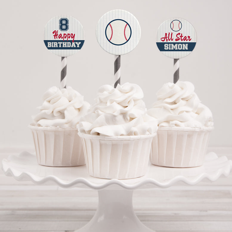 baseball birthday party cupcake toppers template editable instant download
