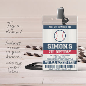 baseball birthday party invitation template editable instant download boys