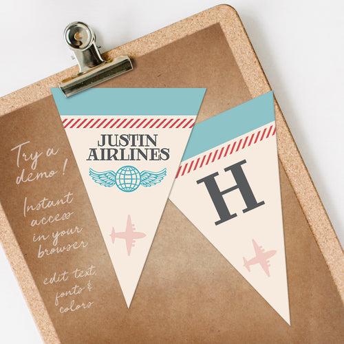 vintage airplane birthday party bunting flags template editable instant download
