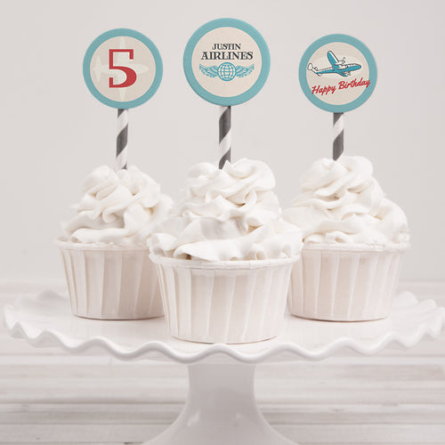 vintage airplane birthday party cupcake toppers template editable instant download