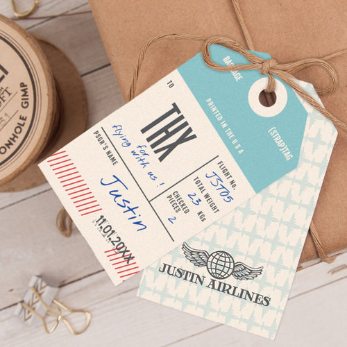 vintage airplane birthday party favor tag template editable instant download