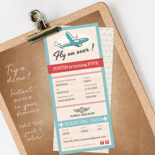 vintage airplane birthday party invitation template editable instant download boys