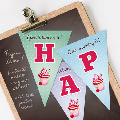 cupcake birthday party bunting flags template editable instant download