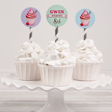 Cupcake birthday party cupcake toppers template editable instant download