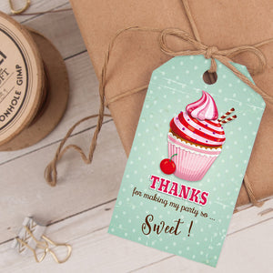 cupcake birthday party favor tag template editable instant download