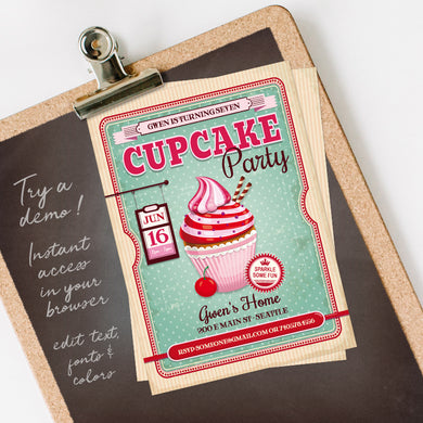 cupcake birthday party invitation template editable instant download girls