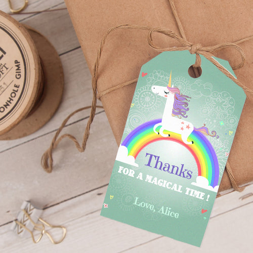 unicorn rainbow party favor tag template editable instant download girls