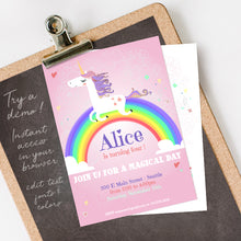 rainbow unicorn birthday party invitation template editable instant download pink