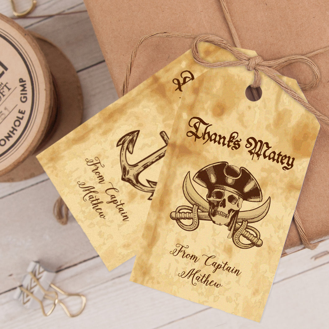 pirate birthday party favor tag template editable instant download