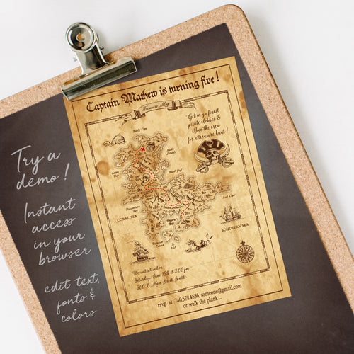 pirate treasure map birthday party invitation template editable instant download