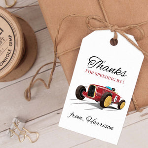 vintage race car birthday party favor tag template editable instant download