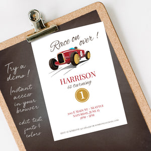 vintage race car birthday party invitation template editable instant download boys