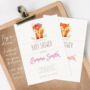 woodland fox baby shower invitation template editable instant download girls