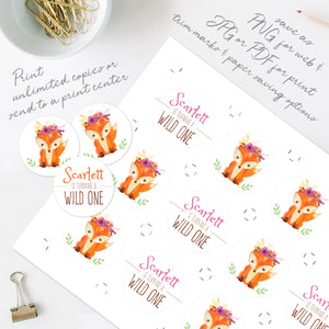 woodland fox birthday party cupcake toppers template editable instant download