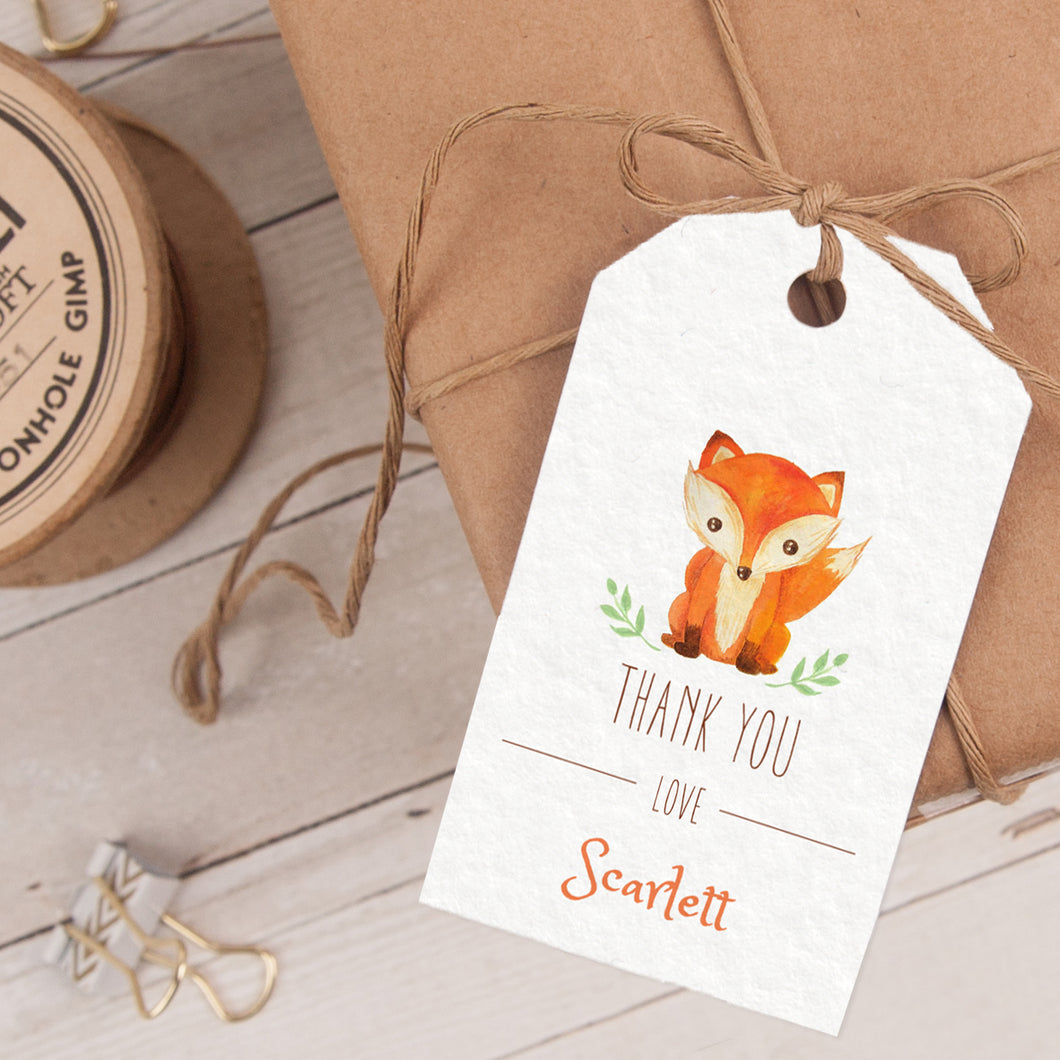 woodland fox birthday party favor tag template editable instant download