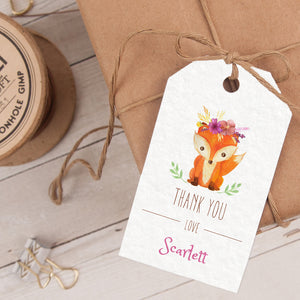 girl woodland fox birthday party favor tag template editable instant download