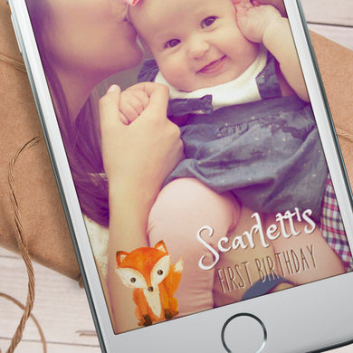 Editable Woodland Fox Snapchat Filter Template INSTANT DOWNLOAD