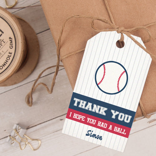 baseball birthday party favor tag template editable instant download