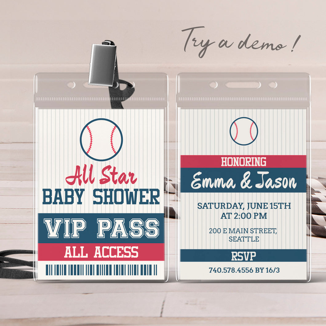 baseball VIP pass baby shower invitation template editable instant download