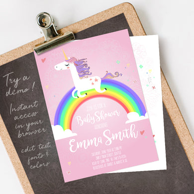 rainbow unicorn baby shower invitation template editable instant download girls