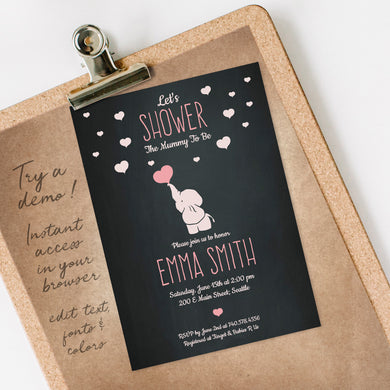 elephant & hearts on chalkboard baby shower invitation template editable instant download girls